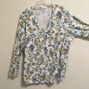 2/$15 Relativity Floral Henley Roll-up Shirt 3X